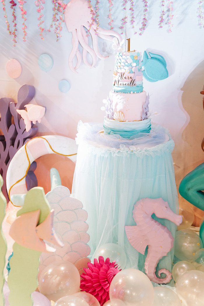 Under the Sea Cake Table from an Under the Sea Birthday Party on Kara's Party Ideas | KarasPartyIdeas.com (13)