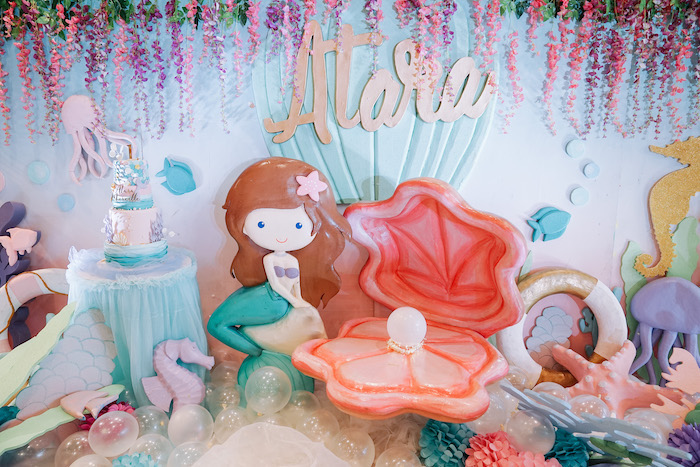 Mermaid Cake Tablescape from an Under the Sea Birthday Party on Kara's Party Ideas | KarasPartyIdeas.com (9)