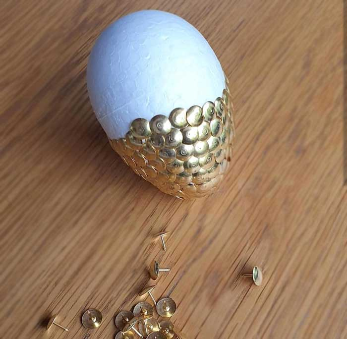 DIY Gold Thumbtack Dragon Egg from a Vikings and Dragons Birthday Party on Kara's Party Ideas | KarasPartyIdeas.com (5)