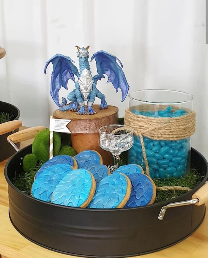 Dragon Scale Cookies from a Vikings and Dragons Birthday Party on Kara's Party Ideas | KarasPartyIdeas.com (4)
