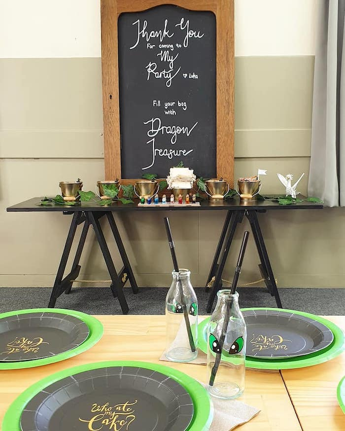 Favor Table from a Vikings and Dragons Birthday Party on Kara's Party Ideas | KarasPartyIdeas.com