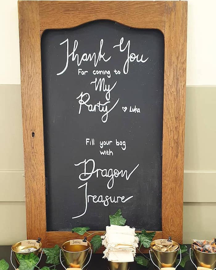 Chalkboard Signage from a Vikings and Dragons Birthday Party on Kara's Party Ideas | KarasPartyIdeas.com