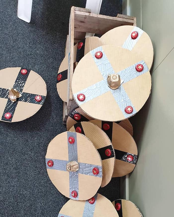 DIY Viking Shields from a Vikings and Dragons Birthday Party on Kara's Party Ideas | KarasPartyIdeas.com
