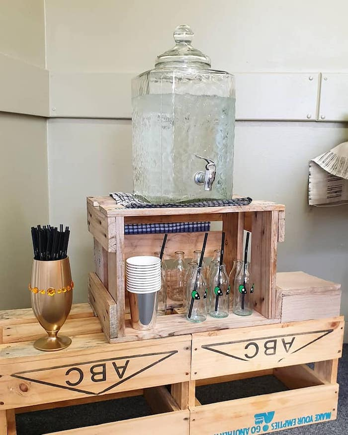Wood Crate Beverage Table from a Vikings and Dragons Birthday Party on Kara's Party Ideas | KarasPartyIdeas.com