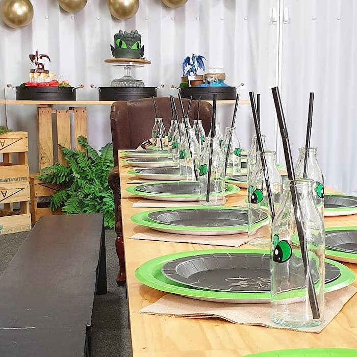 Dragon Themed Kid Table from a Vikings and Dragons Birthday Party on Kara's Party Ideas | KarasPartyIdeas.com