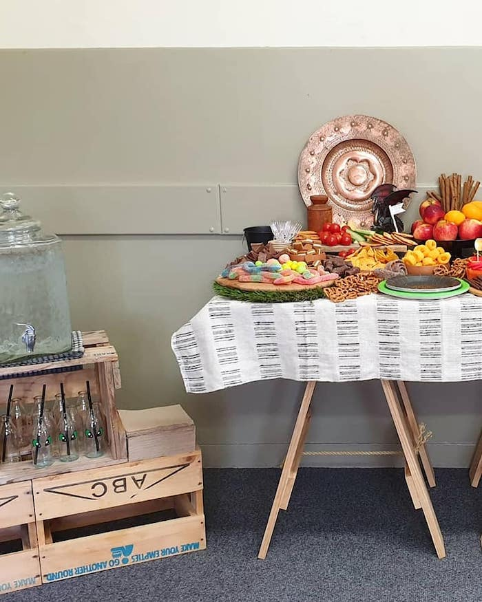 Viking-inspired Buffet Table from a Vikings and Dragons Birthday Party on Kara's Party Ideas | KarasPartyIdeas.com