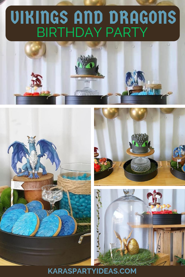 Vikings and Dragons Birthday Party via Kara's Party Ideas - KarasPartyIdeas.com