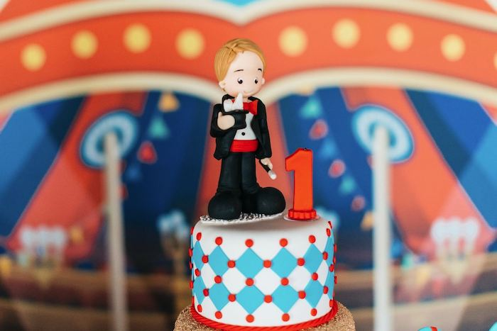 Cake Top from a Vintage Circus Birthday Party on Kara's Party Ideas | KarasPartyIdeas.com (14)