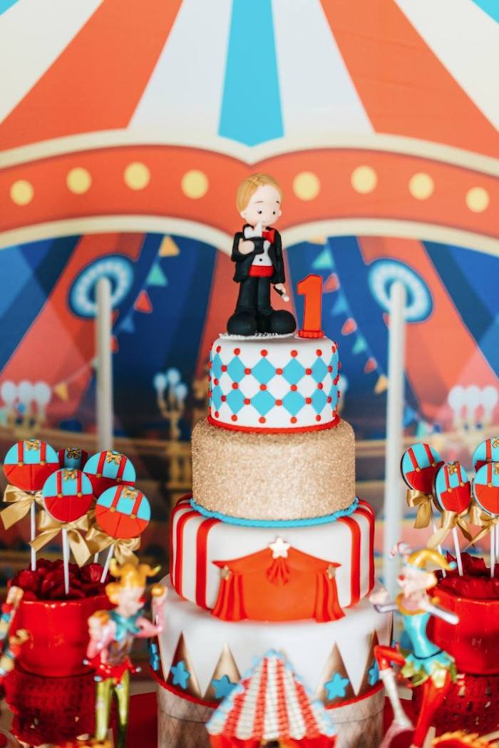Circus Themed Birthday Cake from a Vintage Circus Birthday Party on Kara's Party Ideas | KarasPartyIdeas.com (10)