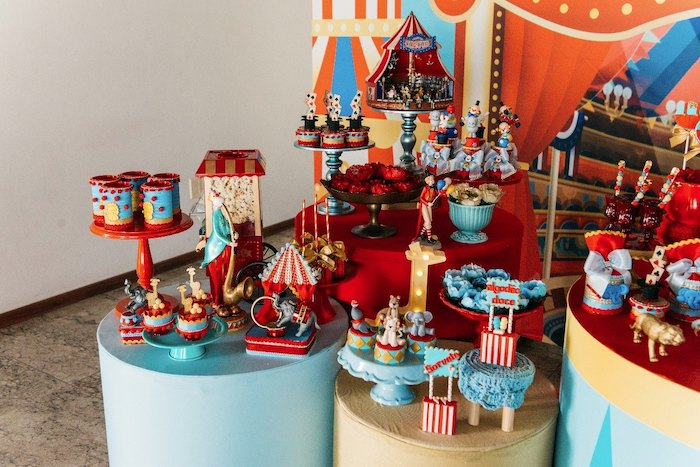 Circus Themed Dessert Pedestal Tables from a Vintage Circus Birthday Party on Kara's Party Ideas | KarasPartyIdeas.com (6)