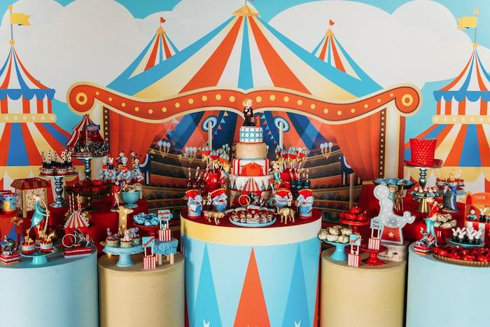 Circus Themed Dessert Spread from a Vintage Circus Birthday Party on Kara's Party Ideas | KarasPartyIdeas.com (31)