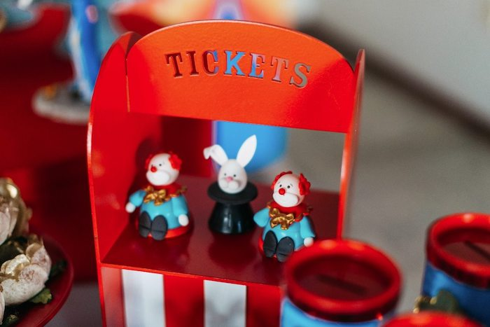 Ticket Booth + Circus Character Sweets & Gumballs from a Vintage Circus Birthday Party on Kara's Party Ideas | KarasPartyIdeas.com (29)