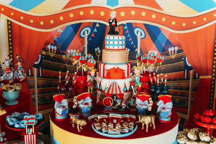 Circus Themed Cake Table from a Vintage Circus Birthday Party on Kara's Party Ideas | KarasPartyIdeas.com (26)