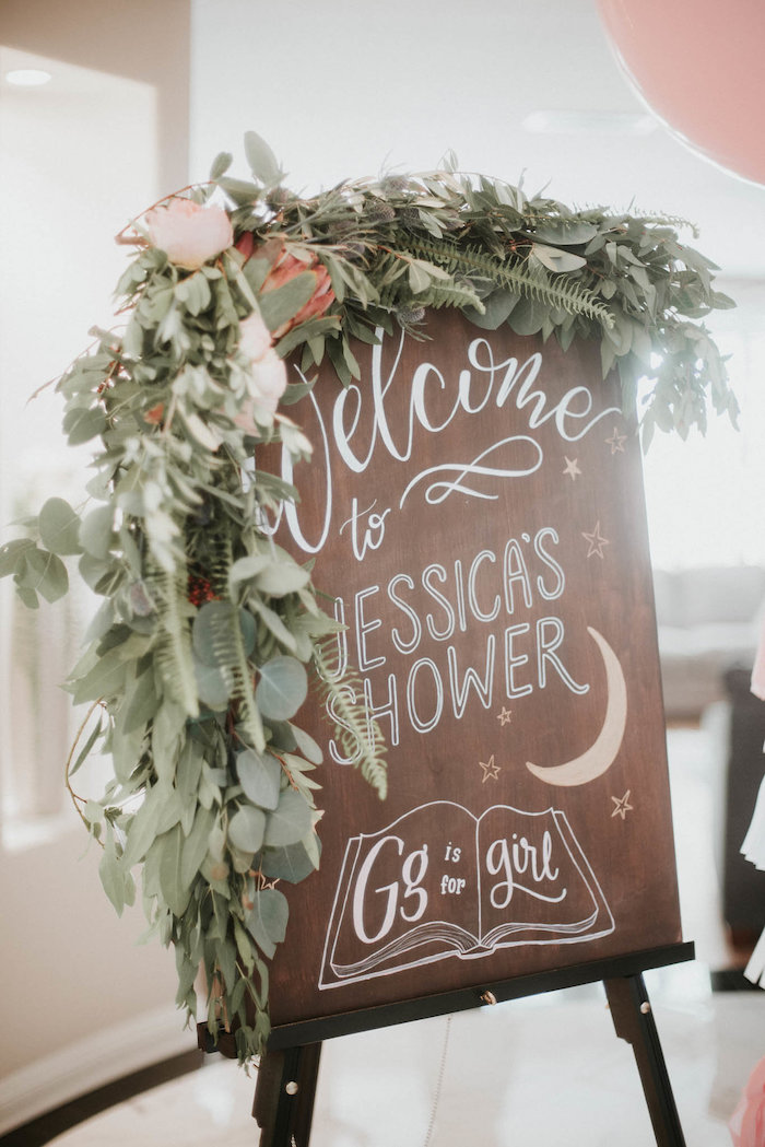 Wood Welcome Sign from a Vintage Tropical Baby Shower on Kara's Party Ideas | KarasPartyIdeas.com (13)
