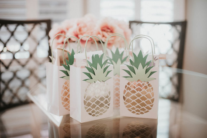 Pineapple Gift Bags from a Vintage Tropical Baby Shower on Kara's Party Ideas | KarasPartyIdeas.com (8)