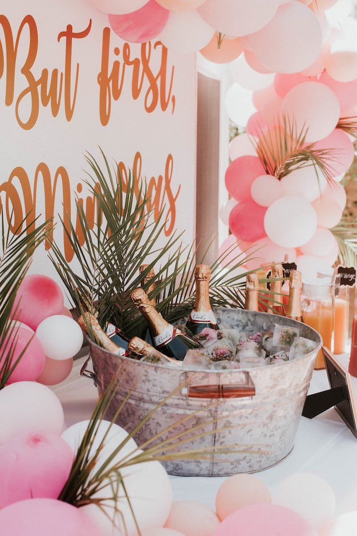 Galvanized Drink Bucket from a Vintage Tropical Baby Shower on Kara's Party Ideas | KarasPartyIdeas.com (31)