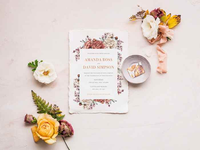 Vintage Bloom + Nature Inspired Invitation from a 2019 Wedding Trends from Celebrity Experts via Kara's Party Ideas | KarasPartyIdeas.com