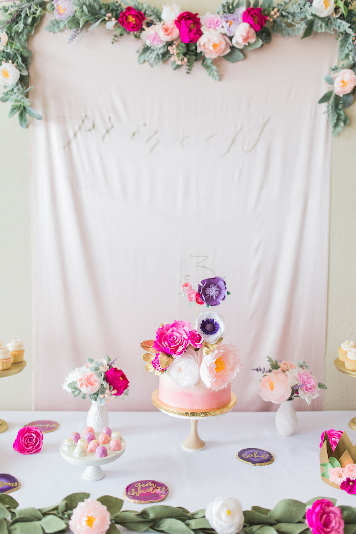 Whimsical Floral Princess Party with Backdrop via Kara's Party Ideas