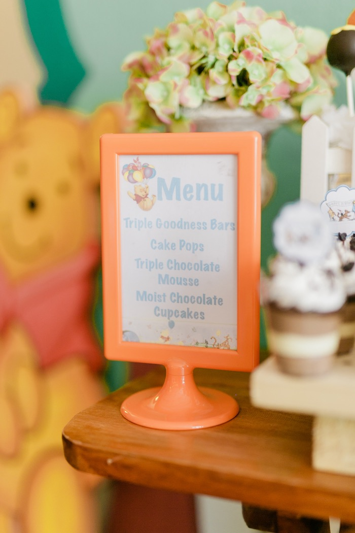 Menu from a Winnie the Pooh Hundred Acre Wood Birthday Party on Kara's Party Ideas | KarasPartyIdeas.com (18)