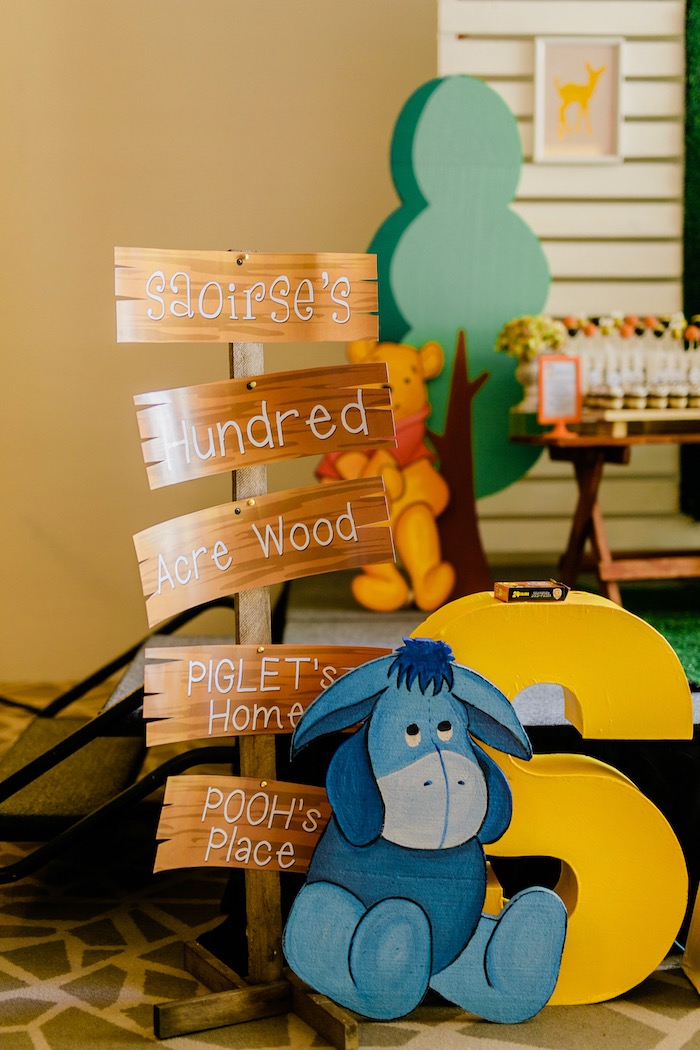 Winnie the Pooh-inspired Directional Sign from a Winnie the Pooh Hundred Acre Wood Birthday Party on Kara's Party Ideas | KarasPartyIdeas.com (17)
