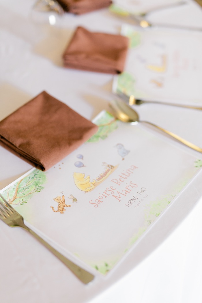 Winnie the Pooh Placemat + Table Setting from a Winnie the Pooh Hundred Acre Wood Birthday Party on Kara's Party Ideas | KarasPartyIdeas.com (15)