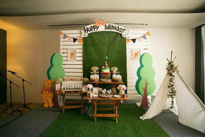 Hundred Acre Wood Dessert Spread from a Winnie the Pooh Hundred Acre Wood Birthday Party on Kara's Party Ideas | KarasPartyIdeas.com (13)