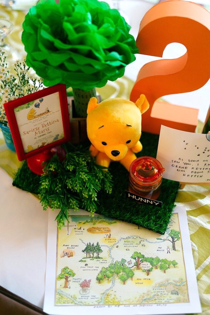 Winnie the Pooh Themed Table Centerpiece from a Winnie the Pooh Hundred Acre Wood Birthday Party on Kara's Party Ideas | KarasPartyIdeas.com (12)