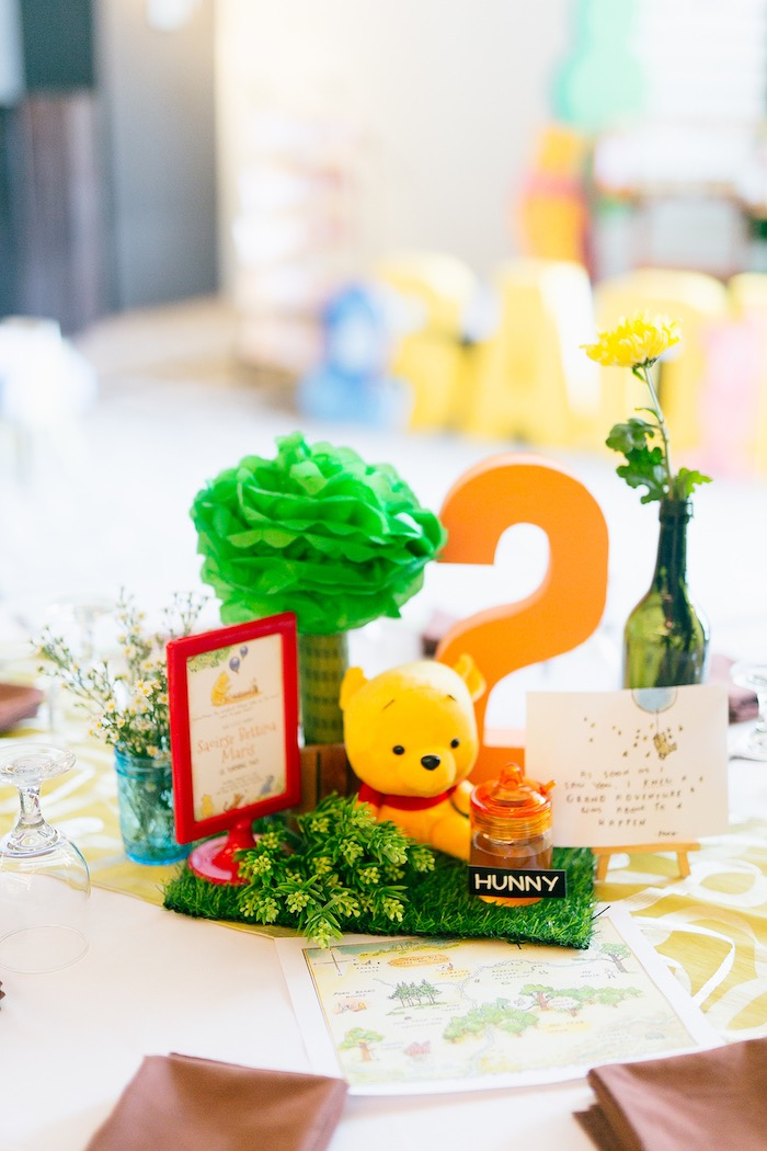 Winnie the Pooh Themed Table Centerpiece from a Winnie the Pooh Hundred Acre Wood Birthday Party on Kara's Party Ideas | KarasPartyIdeas.com (11)