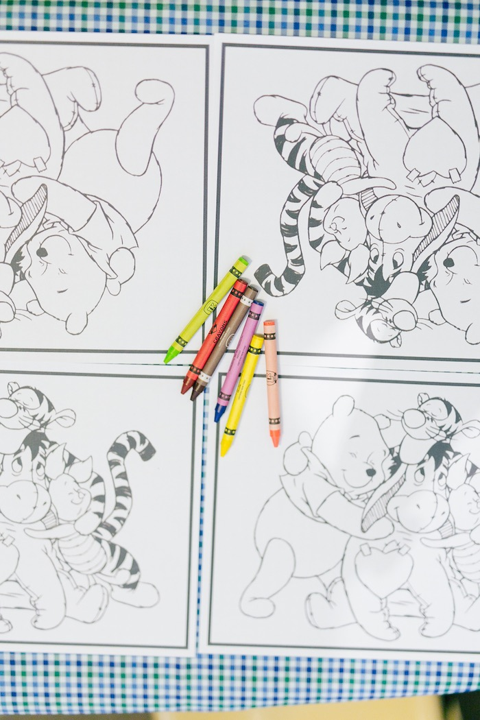 Winnie the Pooh Coloring Pages + Table from a Winnie the Pooh Hundred Acre Wood Birthday Party on Kara's Party Ideas | KarasPartyIdeas.com (10)