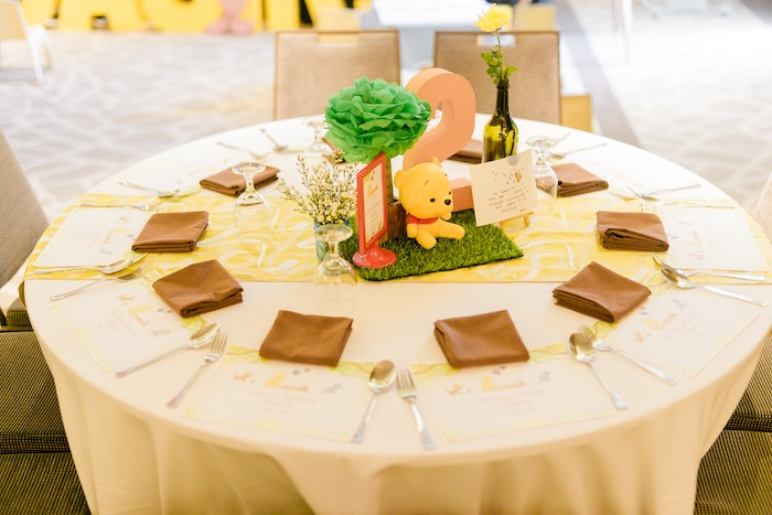 Winnie the Pooh Themed Guest Table from a Winnie the Pooh Hundred Acre Wood Birthday Party on Kara's Party Ideas | KarasPartyIdeas.com (28)