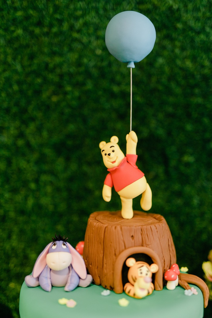 Winnie the Pooh Cake Top from a Winnie the Pooh Hundred Acre Wood Birthday Party on Kara's Party Ideas | KarasPartyIdeas.com (26)