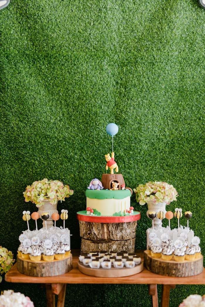 Winnie the Pooh Dessert Table from a Winnie the Pooh Hundred Acre Wood Birthday Party on Kara's Party Ideas | KarasPartyIdeas.com (25)