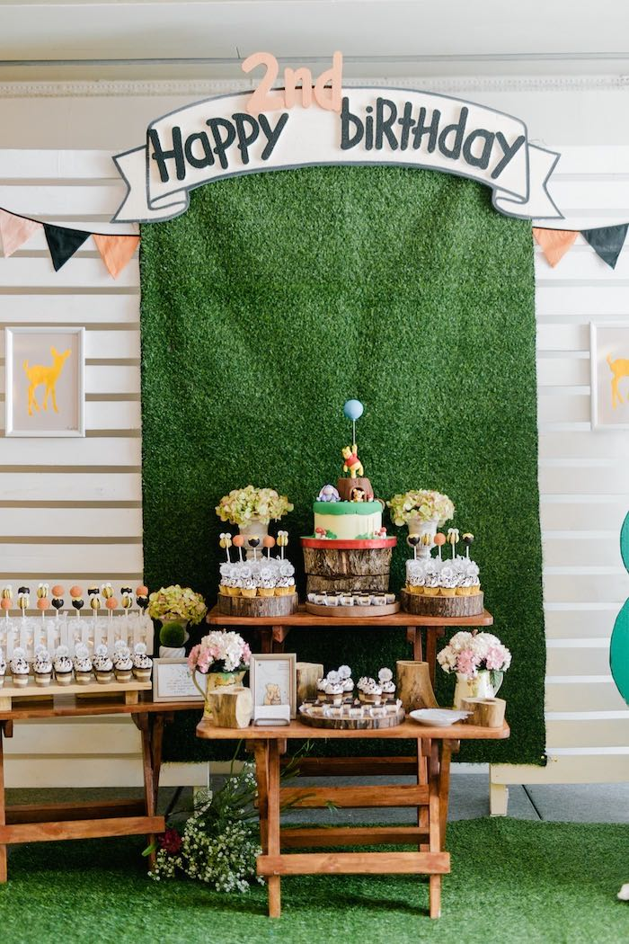 Hundred Acre Wood Dessert Table from a Winnie the Pooh Hundred Acre Wood Birthday Party on Kara's Party Ideas | KarasPartyIdeas.com (23)