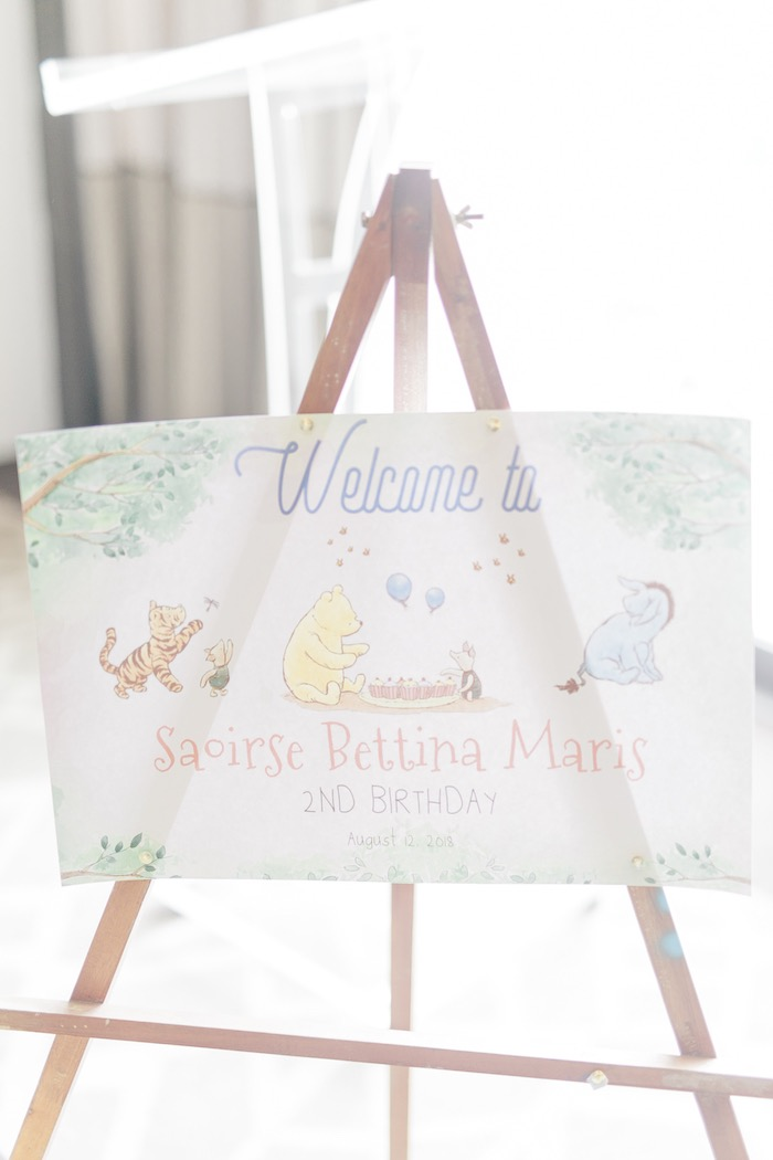 Winnie the Pooh Party Welcome Sign from a Winnie the Pooh Hundred Acre Wood Birthday Party on Kara's Party Ideas | KarasPartyIdeas.com (22)