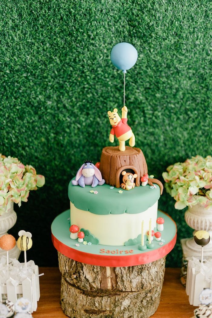 Winnie the Pooh Birthday Cake from a Winnie the Pooh Hundred Acre Wood Birthday Party on Kara's Party Ideas | KarasPartyIdeas.com (21)