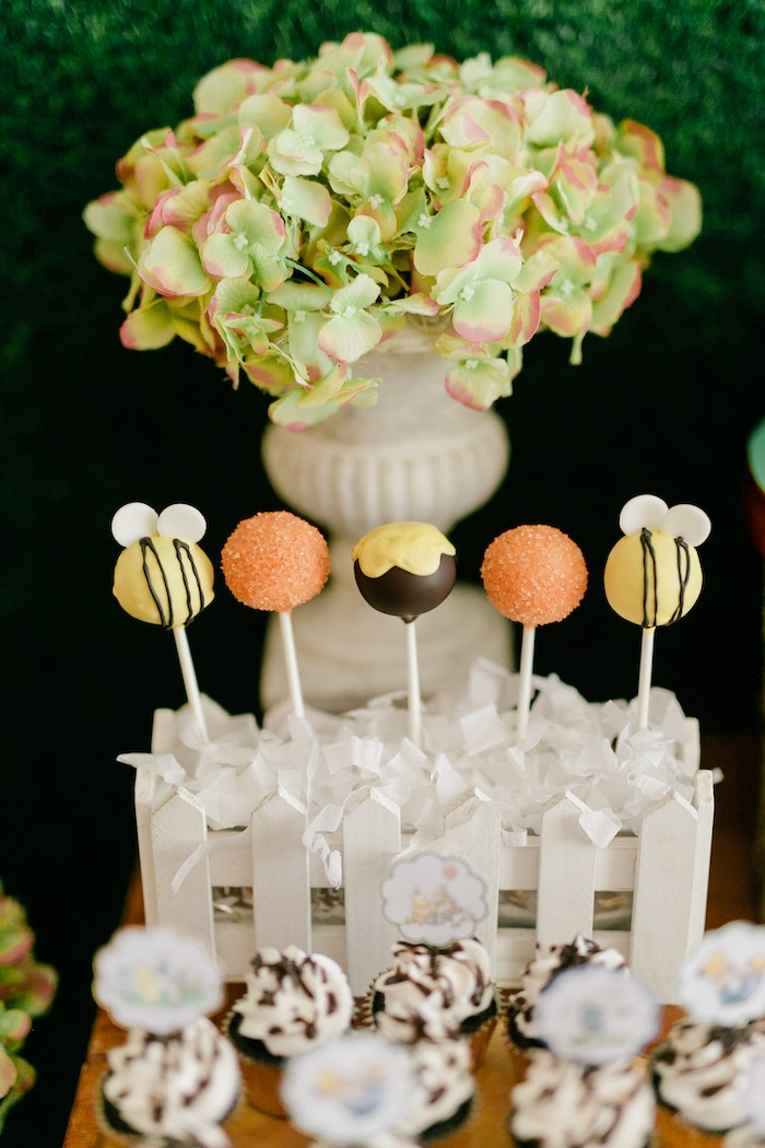 Winnie the Pooh-inspired Cake Pops from a Winnie the Pooh Hundred Acre Wood Birthday Party on Kara's Party Ideas | KarasPartyIdeas.com (20)