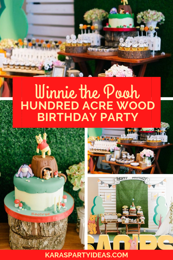 Winnie the Pooh Hundred Acre Wood Birthday Party via Kara's Party Ideas - KarasPartyIdeas.com