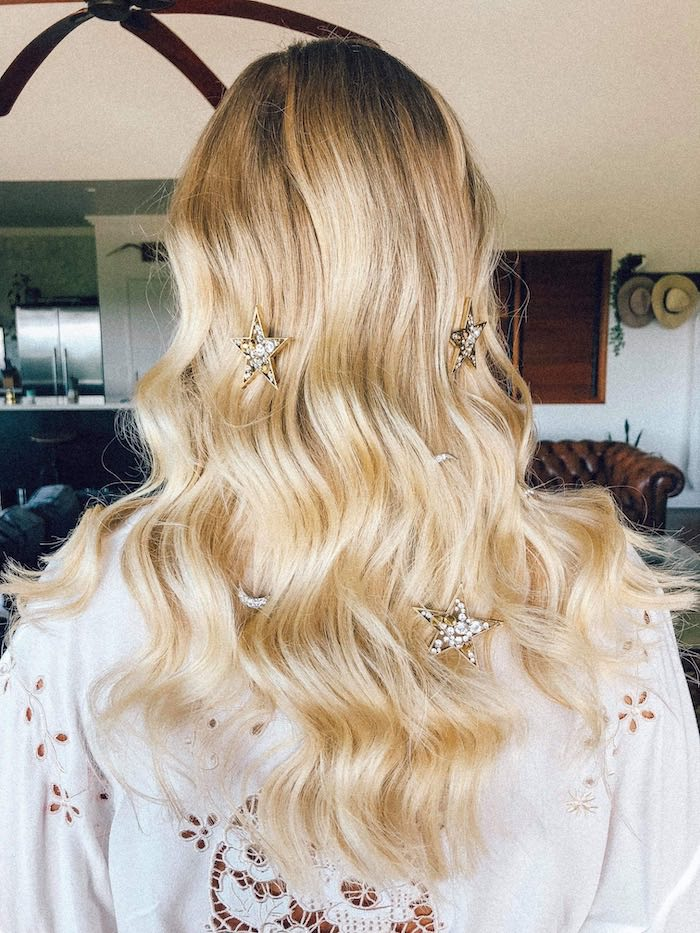 Loose Curled Hair with Diamond Pins from a 2019 Wedding Trends from Celebrity Experts on Kara's Party Ideas | KarasPartyIdeas.com (42)