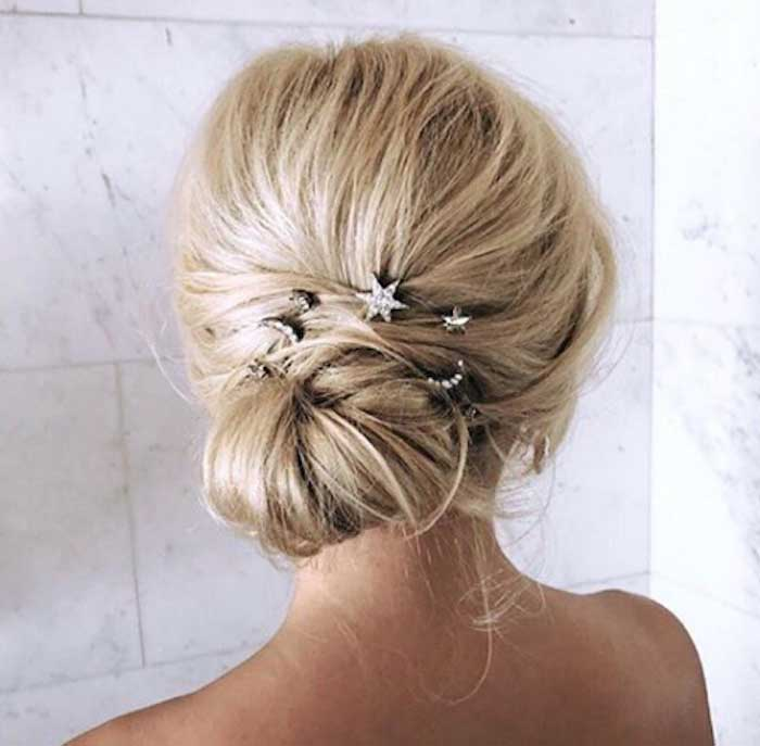 Wedding Hair with Diamond Pins from a 2019 Wedding Trends from Celebrity Experts on Kara's Party Ideas | KarasPartyIdeas.com (39)