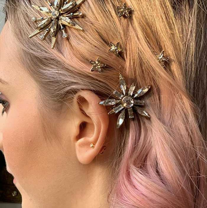 Diamond Hair Pins in Hair from a 2019 Wedding Trends from Celebrity Experts on Kara's Party Ideas | KarasPartyIdeas.com (38)