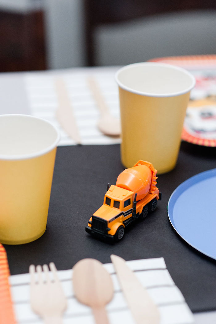 "Toy Construction Truck + Guest Table Prop from a ""Can You Dig it?"" Construction Birthday Party on Kara's Party Ideas 