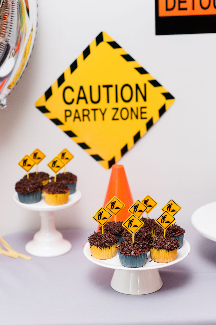 "Construction Worker Cupcakes from a ""Can You Dig it?"" Construction Birthday Party on Kara's Party Ideas 