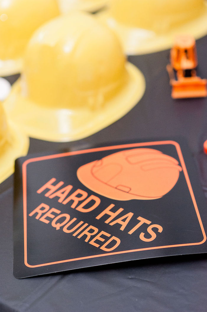 "Hard Hats Required Sign from a ""Can You Dig it?"" Construction Birthday Party on Kara's Party Ideas 