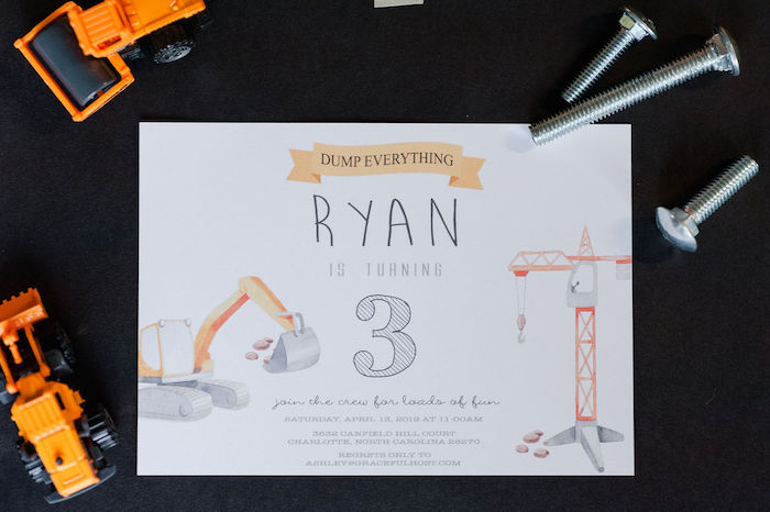 "Construction Themed Birthday Party Invite from a ""Can You Dig it?"" Construction Birthday Party on Kara's Party Ideas 