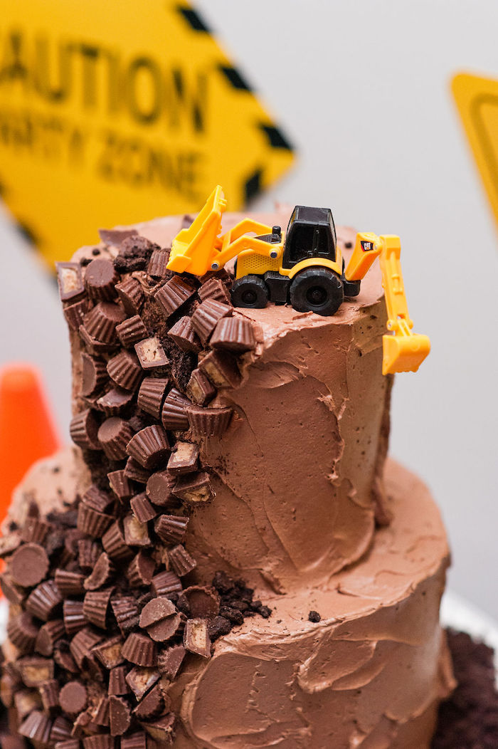 "Construction Themed Cake from a ""Can You Dig it?"" Construction Birthday Party on Kara's Party Ideas 