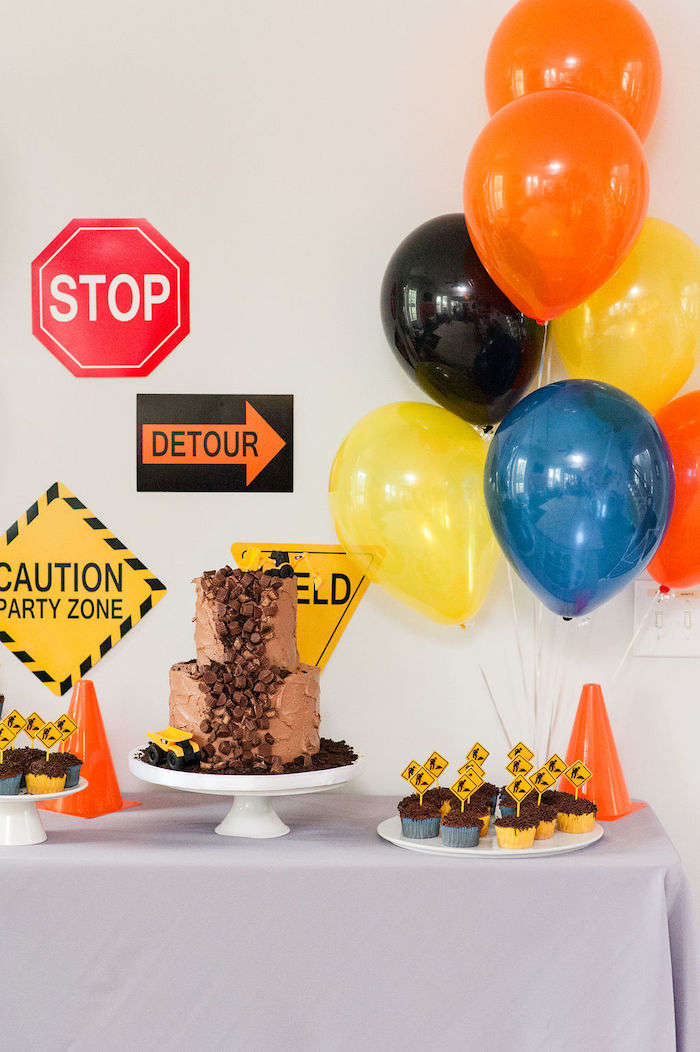 "Construction Themed Dessert Table from a ""Can You Dig it?"" Construction Birthday Party on Kara's Party Ideas 