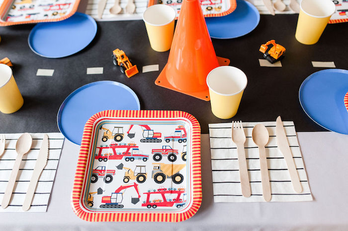 "Construction Themed Table Setting from a ""Can You Dig it?"" Construction Birthday Party on Kara's Party Ideas 