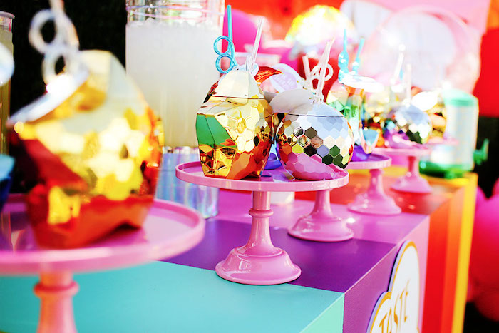 Glam Rainbow Cups from a 7th Heaven Birthday Party on Kara's Party Ideas | KarasPartyIdeas.com (21)