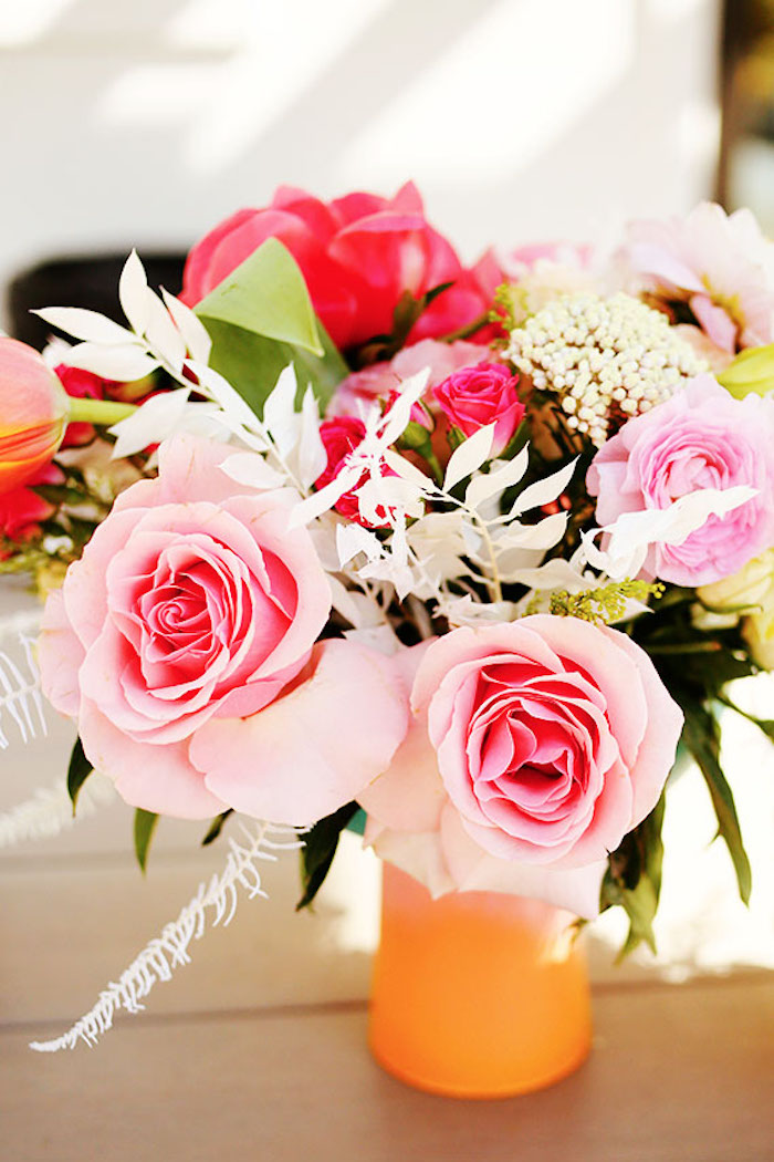 Pink + Red Blooms from a 7th Heaven Birthday Party on Kara's Party Ideas | KarasPartyIdeas.com (19)