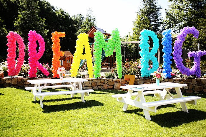 Dream Big Rainbow Balloon Letters from a 7th Heaven Birthday Party on Kara's Party Ideas | KarasPartyIdeas.com (17)